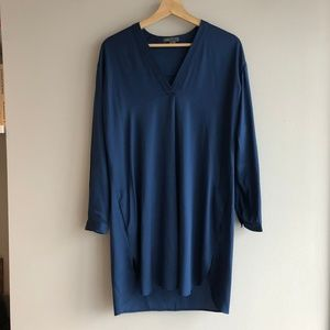 VINCE Silk V-Neck Tunic Dress in Sapphire Size 2